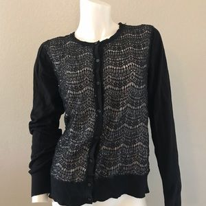 Ann Taylor thin sweater cardigan lacy sequin front